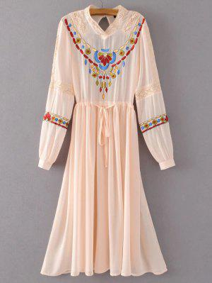 Belted Embroidered Long Sleeve Dress - Pink S