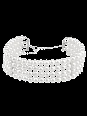 Collar De Perlas De Varias Capas Artificial - Blanco