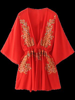 Bohemia Hundiendo Vestido Bordado Cuello - Rojo L