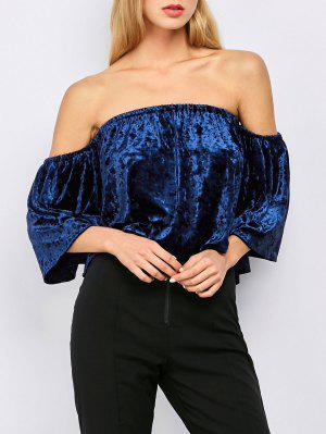 Off The Shoulder Blusa De Veludo - Azul M