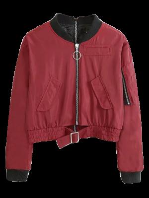 Double Zipper Bomber Jacket - Claret L