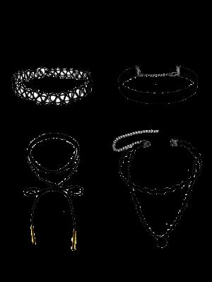 Colliers Chokers En Velours Et En Cuir Artificiel - Noir