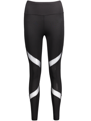 Leggings amincissants de sport en maille transparente
