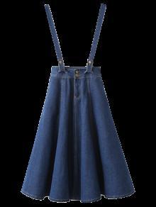 Suspender Denim Skirt - Deep Blue L