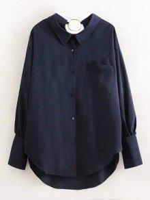 Boyfriend Metal Circle Pocket Shirt - Purplish Blue L