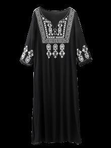 La Raja Del Lado Vestido Largo Bordado - Negro Xl