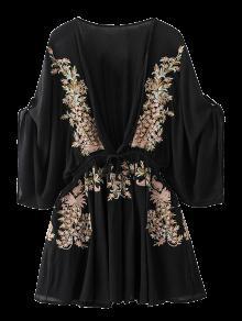 Robe Bohémienne Col Plongeant Avec Broderies - Noir M
