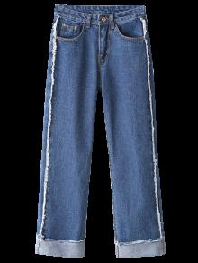 Straight Cuffed Jeans - Light Blue M