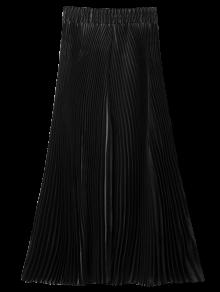 Pleated Capri Wide Leg Pants - Black