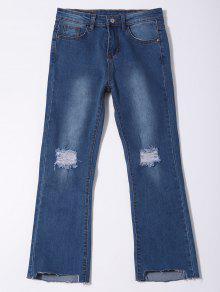 Distressed Asymmetric Hem Capri Jeans - Denim Blue L