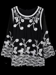 Floral Applique Trapeze Top - Black