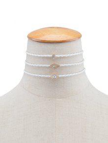 Diamantes De Imitación Geométrica De Los Ojos De La Trenza Gargantilla Collares - Blanco