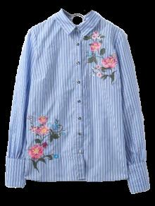 Embroidered Hoop Back Shirt - Blue And White S