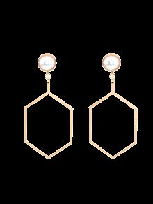 Boucles D'oreilles Hexagonales De Perles Artificielles - Or