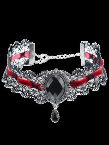 Gem Artificial Terciopelo Del Collar Del Ahogador De La Lágrima - Negro