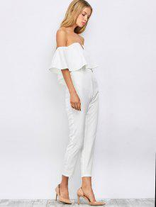 Ruffles Off Shoulder Jumpsuit WHITE: Jumpsuits & Rompers XL | ZAFUL