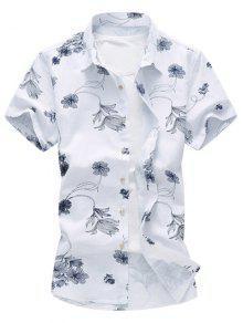 الأزهار طباعة هاواي قميص - الأرجواني الأزرق L