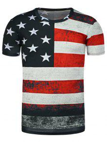 جولة الرقبة المعطوبة العلم الأميركي طباعة تي شيرت - أسود L
