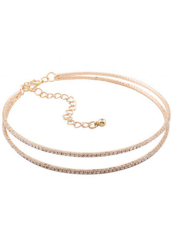 ladies Twins Circle Rhinestone Choker Necklace - GOLDEN