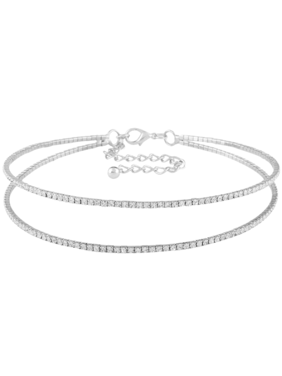 lady Twins Circle Rhinestone Choker Necklace - SILVER