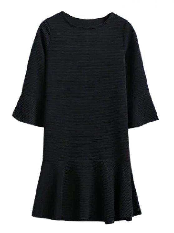 latest Flounce Trim Drop Waist Jacquard Dress - BLACK S