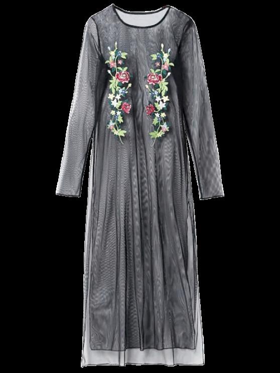 See Thru bordado Vestido de malla - Negro L