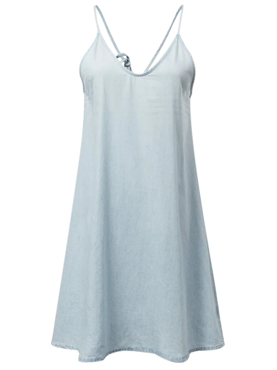 unique Slip Denim Dress - LIGHT BLUE M