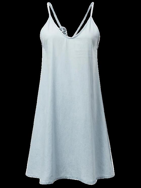 Escorregar Denim Vestido - Azul claro M