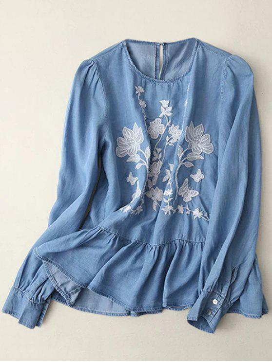 womens Round Neck Embroidered Blouse - LIGHT BLUE M