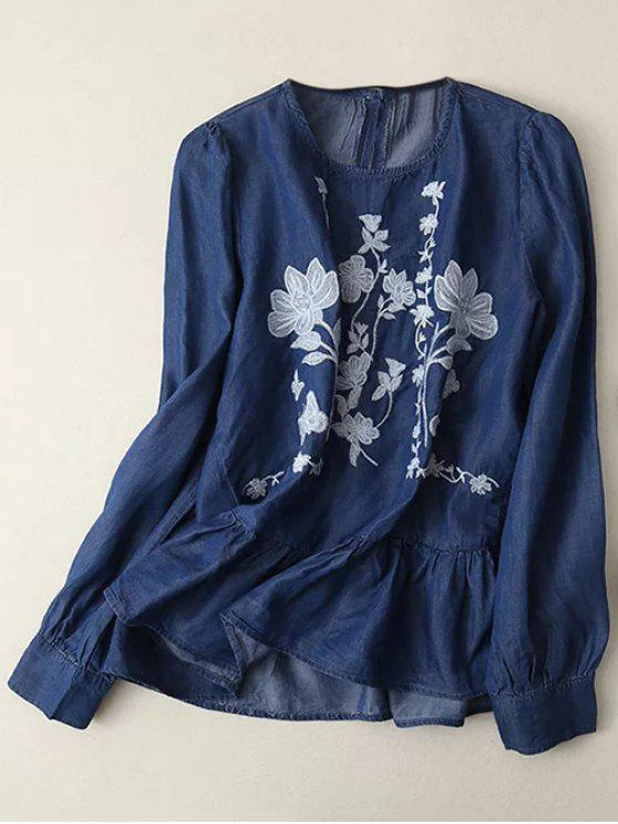women's Round Neck Embroidered Blouse - DEEP BLUE L