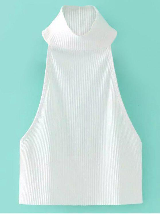 lady High Neck Ribbed Crop Top - WHITE ONE SIZE