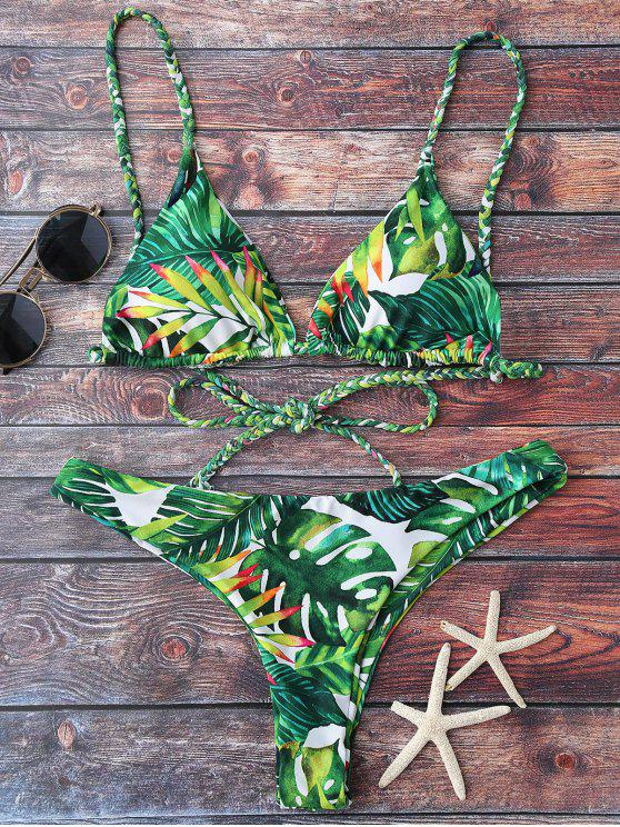 outfits Tropical Print Plunge Bikini - GREEN M