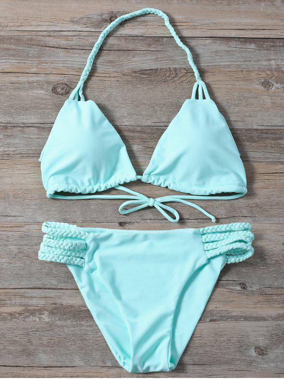 ladies Side Strap Braided Plunge Bikini - TURQUOISE M