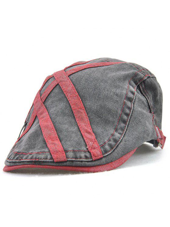 Listras transversais Costura Cabbie Hat - Vinho vermelho
