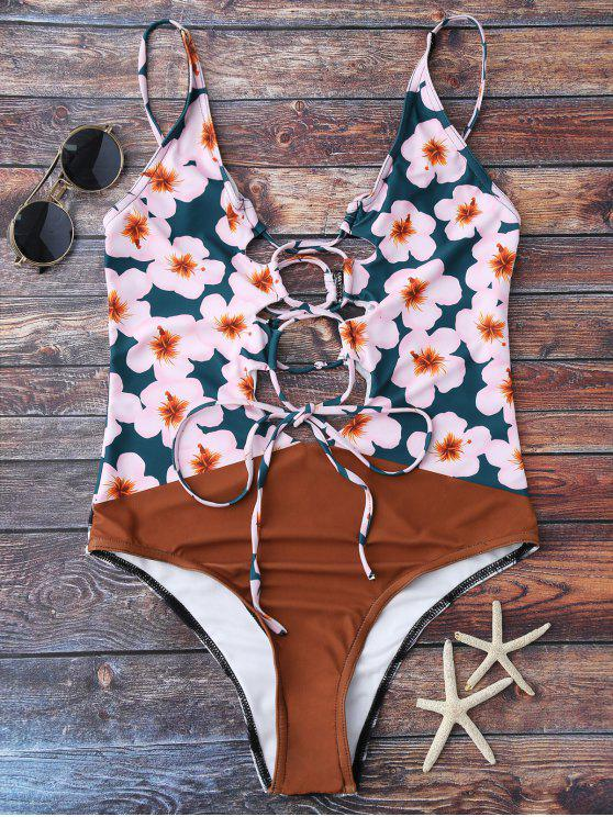 fashion Floral Lace Up Cami High Leg Swimsuit - COLORMIX S