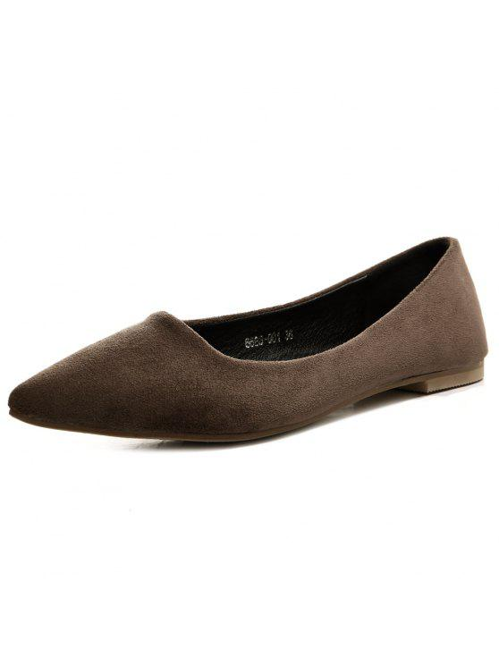buy Suede Slip On Flat Shoes - DEEP BROWN 38