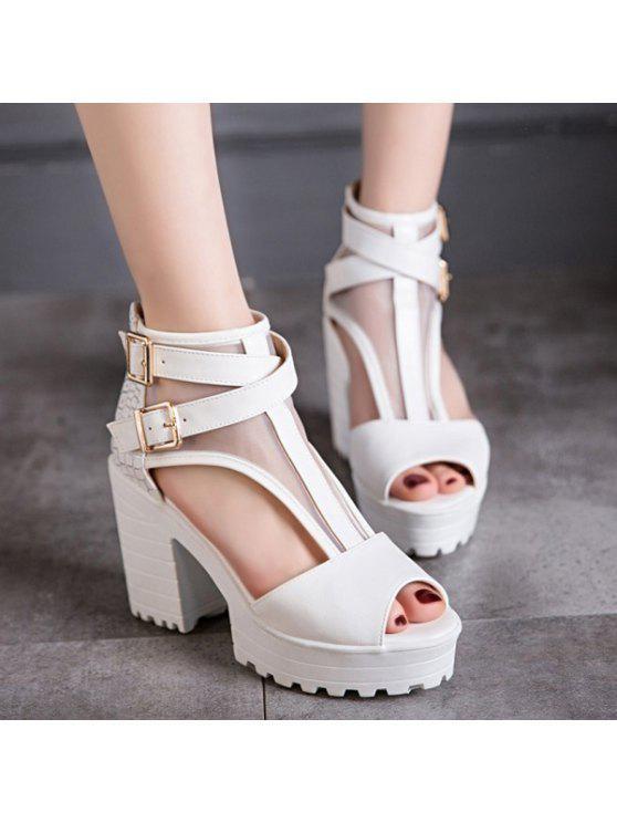 De malla sandalias peep toe - Blanco 38