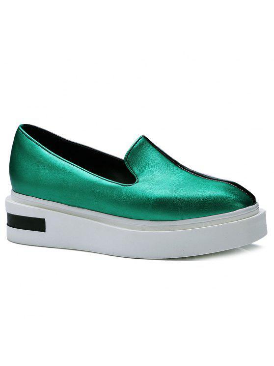 Bloque de color de imitación zapatos de la plataforma del cuero - Verde 38