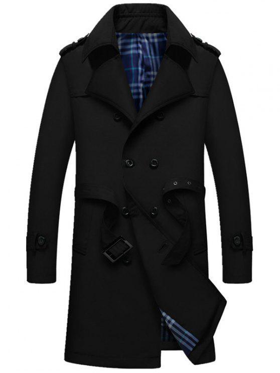 معطف الخندق مربوط مع كتفية - أسود 4XL