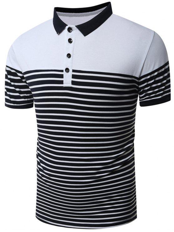 trendy Stripes Short Sleeve T-Shirt - WHITE 2XL