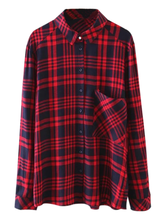 new Pocket Checked Shirt - RED M