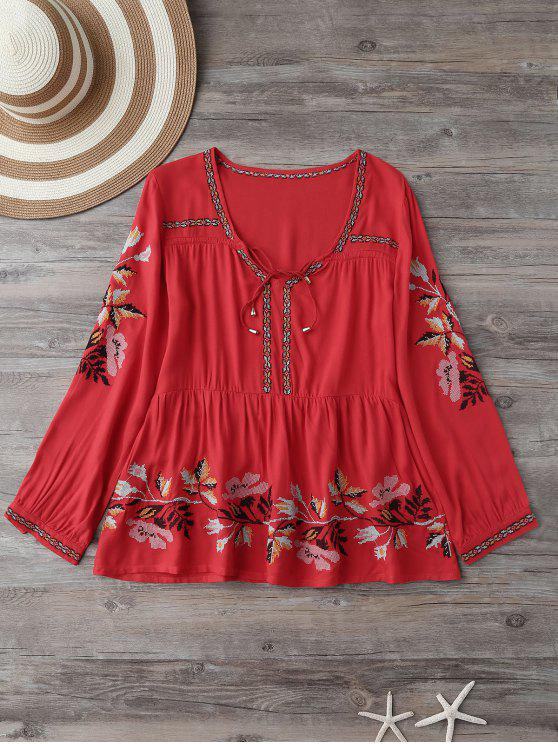 sale Embroidered Plunging Neck Blouse - RED S