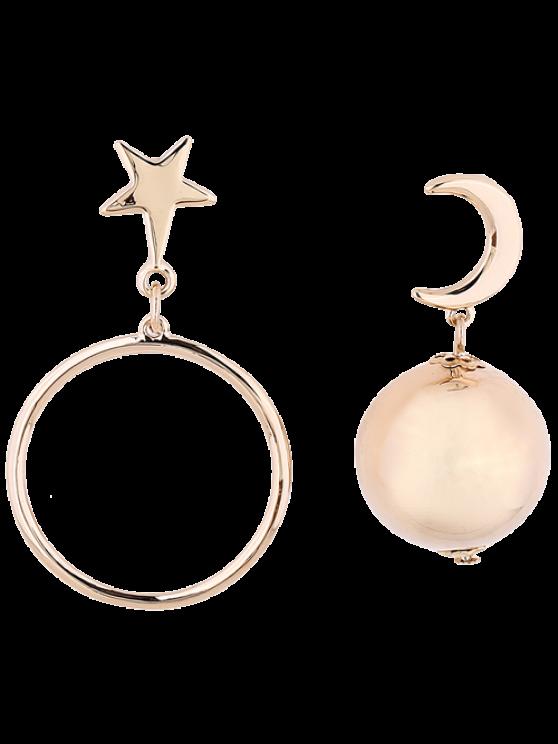 Asimétrica pendientes estrella de la luna de la bola - Dorado