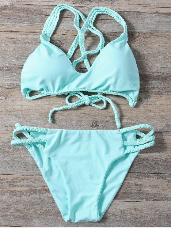 Trenzada del entrecruzamiento de la correa del bikini - Verde Claro S