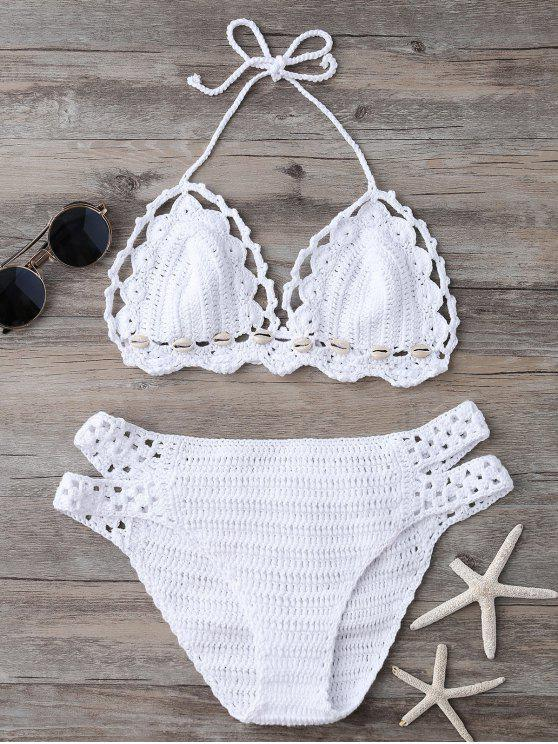 Shell String Crochet Bikini Set White Bikinis One Size Zaful