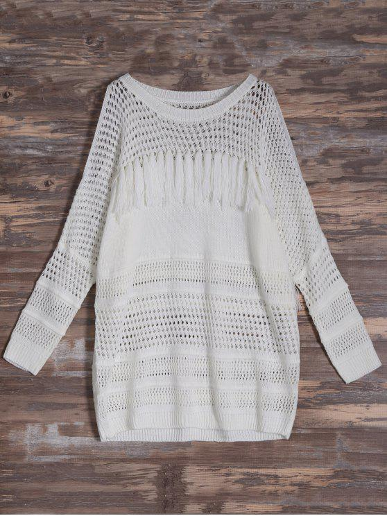 best Cold Shoulder Hollow Out Tassel Jumper - OFF-WHITE ONE SIZE