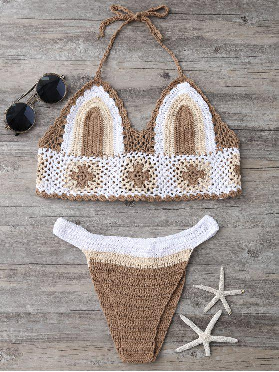 latest Color Block Banded Crochet Bikini Set - KHAKI ONE SIZE