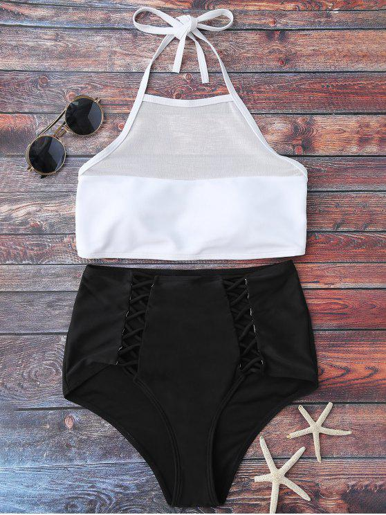 latest Halter Sheer High Waist Bikini Swimsuit - WHITE AND BLACK M