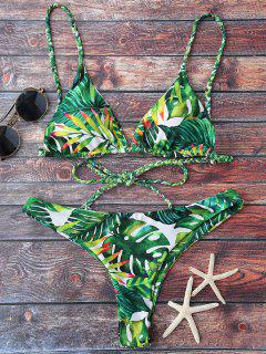 Tropical Print Plunge Bikini - Green S