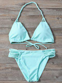 Side Strap Braided Plunge Bikini - Turquoise L